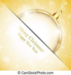 allegro, dorato, palla, fiocchi neve, -, vettore, stelle, anno, nuovo, natale, felice