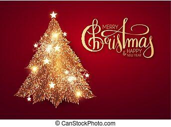 allegro, fondo, iscrizione, lights., natale, stelle, lucente, albero, oro, vacanza