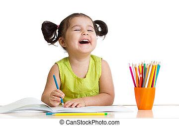 allegro, matite, ragazza, capretto