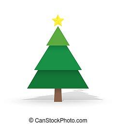 allegro, neve, albero, isolato, pino, tema, fondo, anno, nuovo, natale bianco, felice