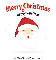 allegro, santa, neve, claus, isolato, tema, fondo, anno, nuovo, natale bianco, felice