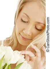allegro, tulips, bianco, biondo