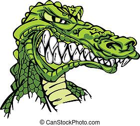 alligatore, vettore, cartone animato, mascotte