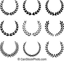 alloro, wreaths., set, nero, 2.