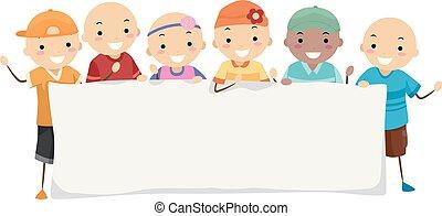 alopecia, stickman, bambini, bandiera, illustrazione