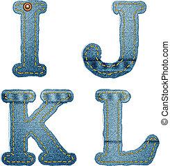 alphabet., denim, j, jeans, l, lettere, k