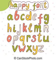 alphabet., mano, vettore, disegnato, font, felice