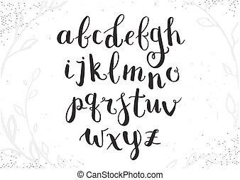 alphabet., manoscritto, disegnato, scritto, mano, penna, vettore, spazzola, inchiostro, lettere