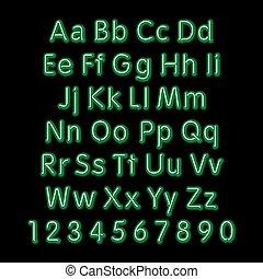 alphabet., neon, disegno, font, vector., 3d, retro, arte, festa, splendore