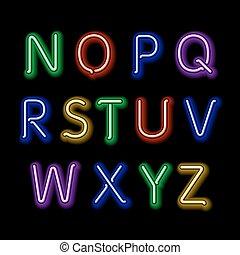 alphabet., neon, font, vettore, disegno, retro, festa, arte, splendore, 3d