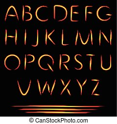 alphabet., urente, fuoco, letters., ardendo, vettore, font.