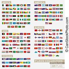 alphabetical., collezione, bandiera, grande, fascicolato, mondo