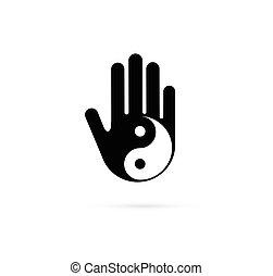 alternativa, concetto, cinese, wellness, yoga, yin, -, medicina, vettore, icona, logotipo, meditazione, zen, yang