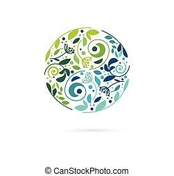 alternativa, concetto, cinese, wellness, zen, icona, yin, -, erbaceo, vettore, medicina, logotipo, meditazione, yang