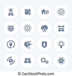 alternativa, icone, energetics, energia solare, set