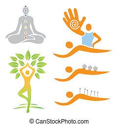alternativa, medi, yoga, massaggio, icone