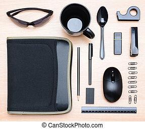 alto, articoli, angolo, closeup, scrivania