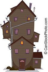 alto, casa, legno