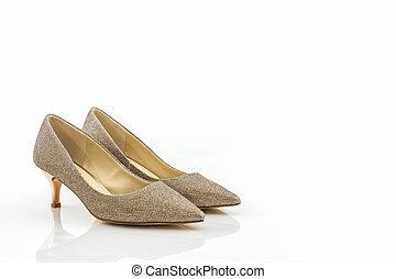 alto, dorato, scarpe, tallone