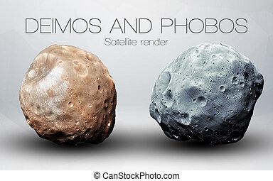 alto, elementi, pianeti, ammobiliato, system., immagine, phobos, -, nasa., deimos, presenta, questo, solare, immagini, risoluzione, 3d