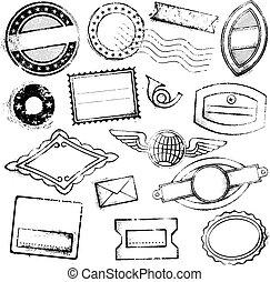 alto, generico, francobolli, postale, dettaglio