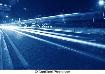 alto, luce automobile, velocità, traccia, segno, scia
