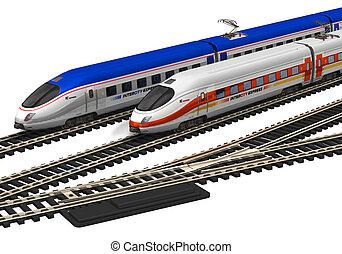 alto, miniatura, velocità, treni