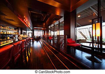 alto, posti, vuoto, sedie, tavoli, fila, contatore, sbarra rossa, confortevole, ristorante