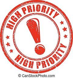 alto, priorità, francobollo