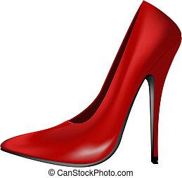 alto, rosso, tallone, scarpa