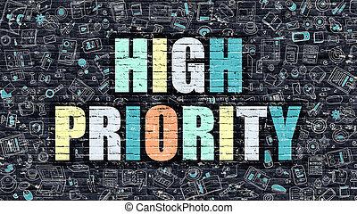 alto, scarabocchiare, priorità, multicolor, scuro, brickwall., style.