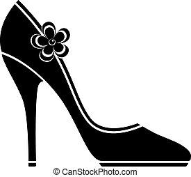 alto, scarpe, tallone, (silhouette)