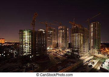 alto, sette, gru, sotto, costruzioni, scuro, costruzione, notte, illuminazione