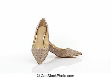 alto, shoes., tallone, dorato