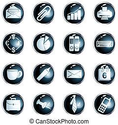 alto, ufficio, lucentezza, bottoni, nero, rotondo