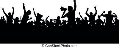 altoparlante, silhouette, vector., folla, persone, fans., spokesman., allegro, dimostrazione, protesta, oratore, mob., sport, altoparlante, applauso