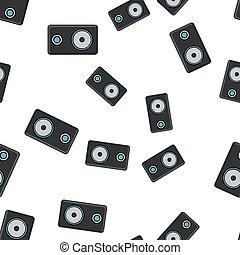 altoparlanti, moderno, isolato, struttura, seamless, fondo., piste, vettore, nero, illustrazione, modello, musica, bianco, musicale, tecnologia, gioco, melodie