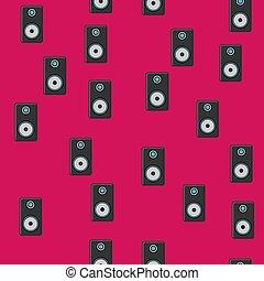 altoparlanti, viola, moderno, isolato, illustrazione, seamless, fondo., piste, vettore, nero, struttura, modello, musica, musicale, gioco, tecnologia, arie
