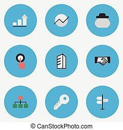 altro, vettore, architecture., diagramma, dito, icons., synonyms, elementi, set, struttura, affari, accordo, toccante, semplice, illustrazione