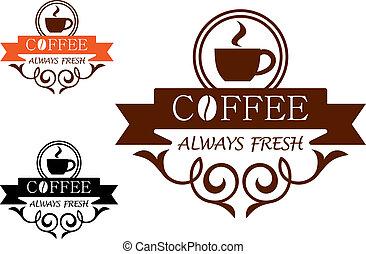 always, caffè, vettore, fresco, etichetta