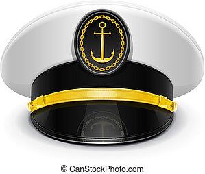 alzato, capitano, berretto, coccarda