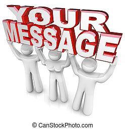 alzato, parola, aiuto, persone, fornire, ottenere, tre, lei, pubblicità, parole, squadra, messaggio, tuo, fuori