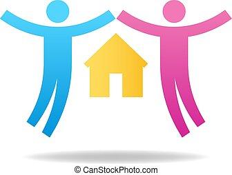 amanti, famiglia, concept., coppia, house., illustrazione, vettore, paio, female., icon., maschio, tuo, design.