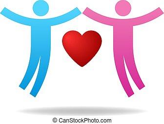 amanti, heart., coppia, dare, concept., love., illustrazione, carità, vettore, paio, female., icon., maschio, tuo, design.