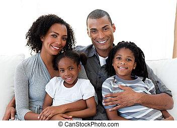 amare, divano, insieme, famiglia, seduta