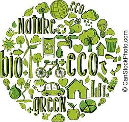 ambientale, cerchio, verde, icone