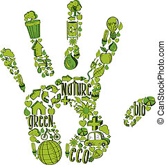 ambientale, mano, verde, icone