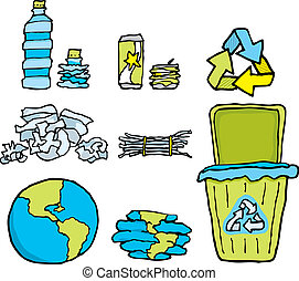 ambientale, riciclaggio, set, /, conservazione