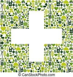 ambientale, simbolo, più, icone