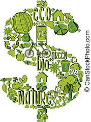 ambientale, simbolo, verde, ricco, icone